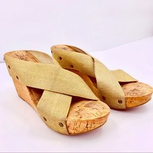Lucky Brand Cork Wedge Slip On Sandals Size 10.5